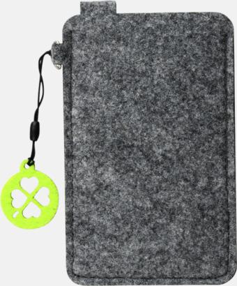 Grå/Limegrön (liten 2) Mobilfodral i filt med reklamtryck