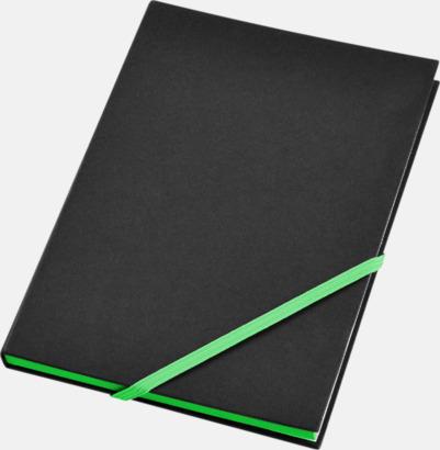 Svart/Neongrön (A5) Anteckningsböcker i A5- och A6-format med reklamtryck