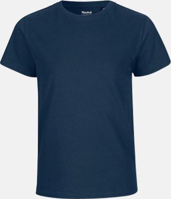 Marinblå Ekologiska t-shirts för barn av ekologisk bomull - med tryck