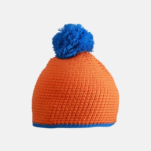 Orange/Aqua Toppluvor med rand och toft i annan färg - med bordyr