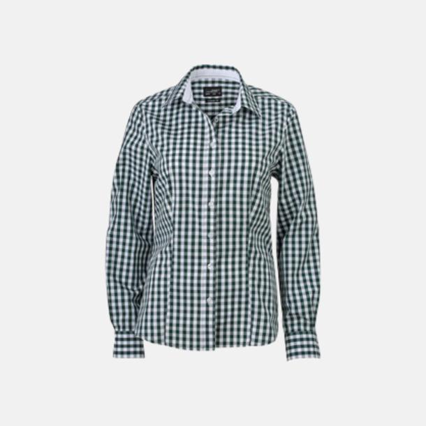 Forest Green/Vit (dam) Rutiga bomullsskjortor & -blusar med reklamtryck