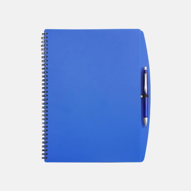 Blå A4-block med bläckpenna - med reklamtryck