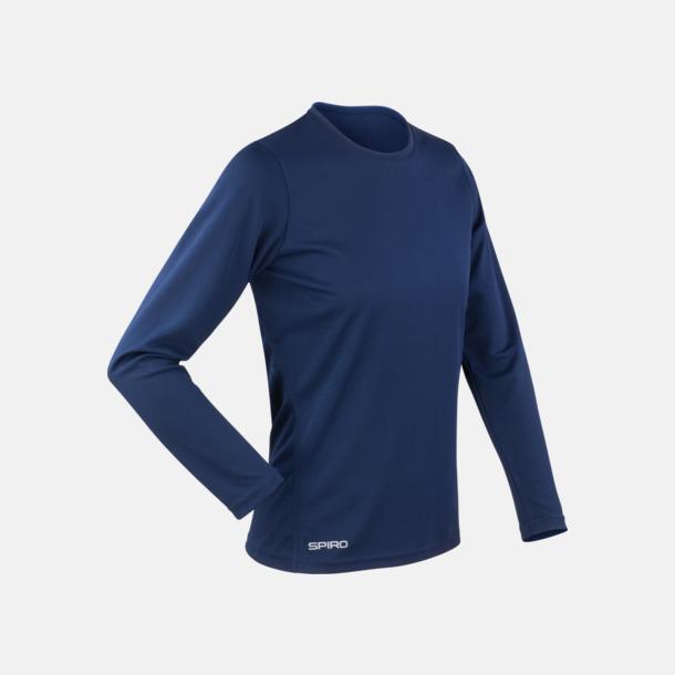 Marinblå (dam) Långärmade funktionströjor i herr- & dammodell med reklamtryck