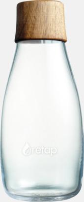 Träkork i valnöt (se tillval) Mindre vattenflaskor av glas med reklamtryck
