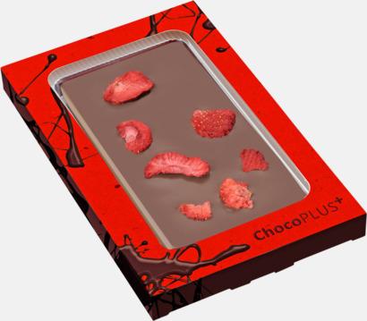 Jordgubb (mjölkchoklad) Lyxiga chokladkakor i många smaker med reklamtryck