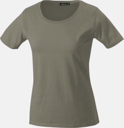 Khaki T-shirtar av kvalitetsbomull med eget tryck