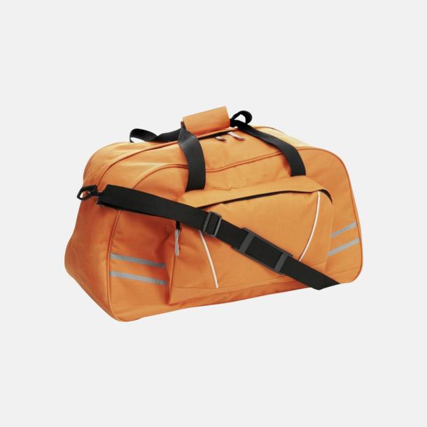 Orange Sportbags med reflexremsor - med tryck