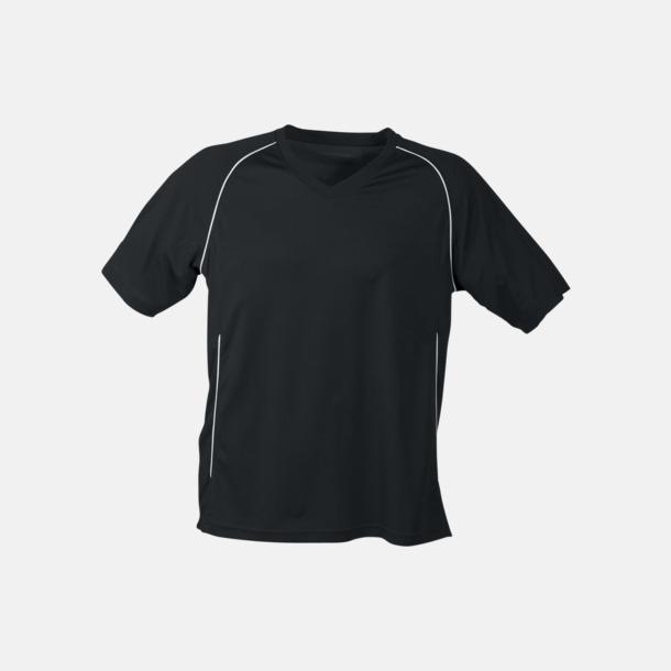 Svart T-shirt i funktionsmaterial med eget tryck