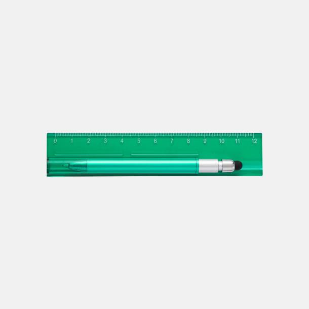 Grön Linjal med styluspenna i hållare - med reklamtryck