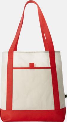 Röd/Benvit Mönstrade non woven-väskor med reklamtryck