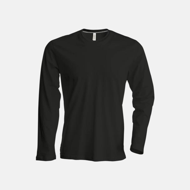 Svart (crewneck, herr) Långärmad t-tröja med rundhals för herr och dam med reklamtryck