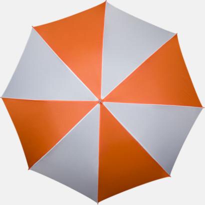Orange / Vit Golfparaplyer med ergonomiska trähandtag