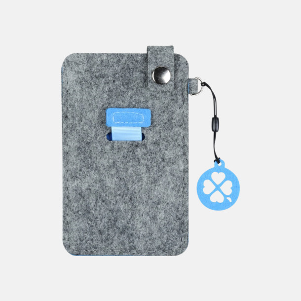Grå/Blå (liten) Mobilfodral i filt med reklamtryck