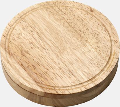 Ljust trä Ostbricka och -låda innehållande 3 redskap - med egen gravyr