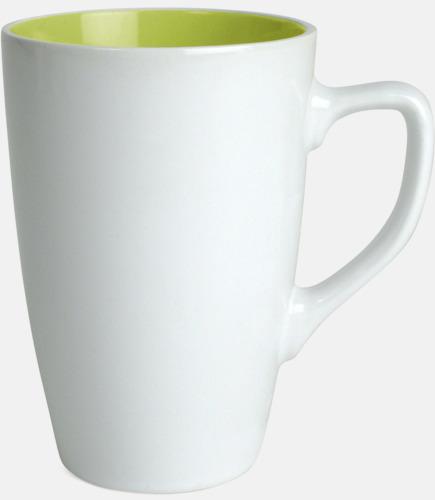 Vit/Limegrön Kaffemuggar med färgad insida