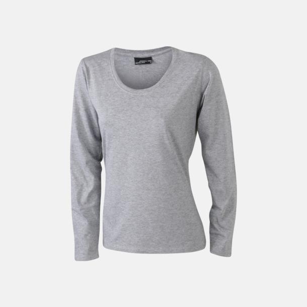 Grey Heather (dam) Långärmade t-shirts i herr-, dam- & barnmodell med reklamtryck