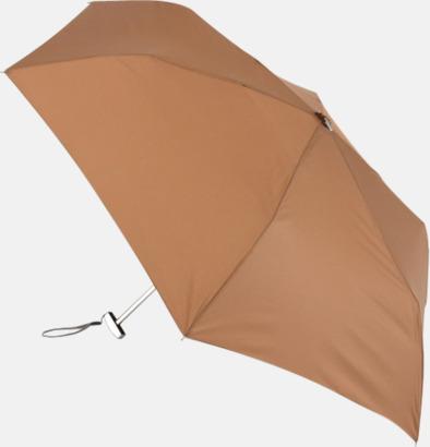 Brun Super slim kompaktparaplyer med tryck