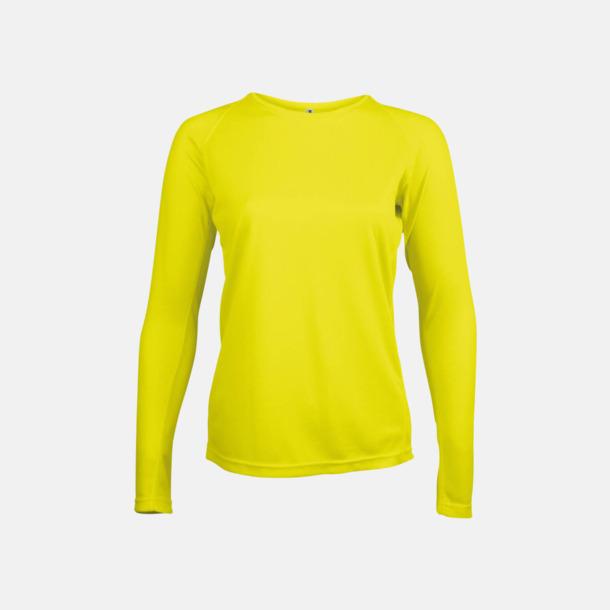 Floucerande Gul Sport t-shirts med långa ärmar för kvinnor - med reklamtryck