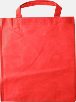 Röd - Korta handtag Bärkassar med långa eller korta handtag i Non Woven - med tryck
