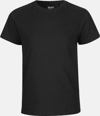 Svart Ekologiska t-shirts för barn av ekologisk bomull - med tryck