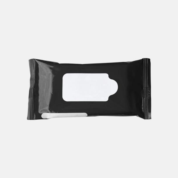 Svart Box med 10 pre-fuktade näsdukar - med reklamtryck