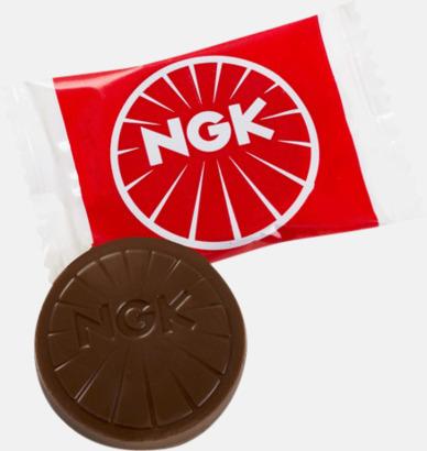 Chokladbitar i olika former förpackade i flow-pack med reklamtryck