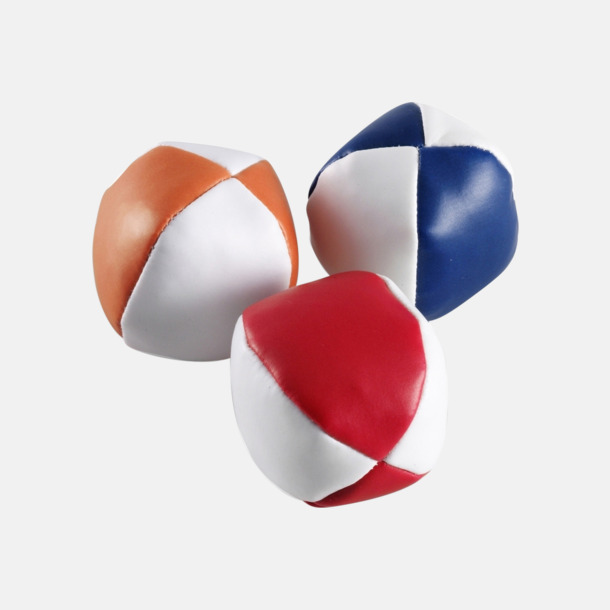 Blå/Vit, Röd/Vit, Orange/Vit Klassiska jongleringsbollar i påse - med reklamtryck