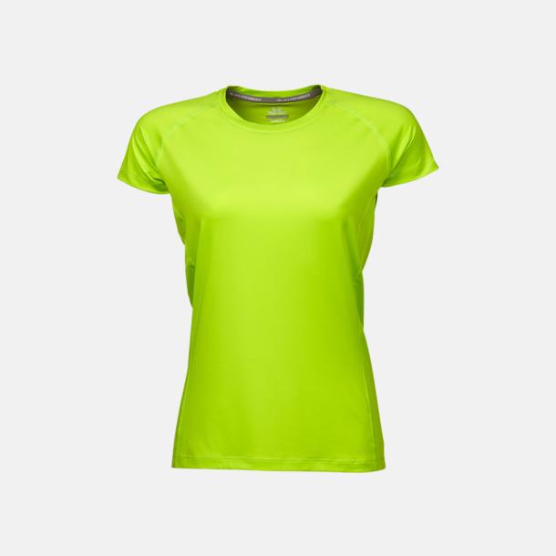 Bright Lime (dam) Funktions t-shirts i herr- & dammodell med reklamtryck