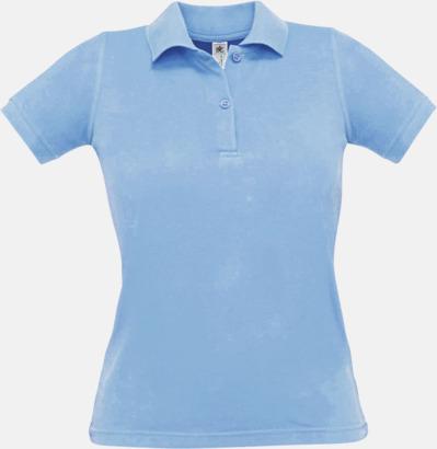 Sky Blue Pikétröjor med tryck för dam