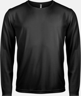 Svart Sport t-shirts med långa ärmar för män - med reklamtryck
