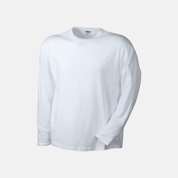 Vit (herr) Långärmade t-shirts i herr-, dam- & barnmodell med reklamtryck