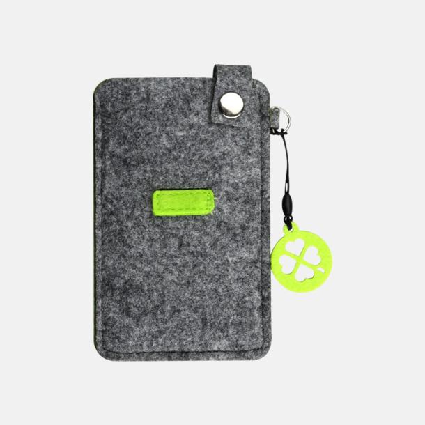 Grå/Limegrön (liten) Mobilfodral i filt med reklamtryck