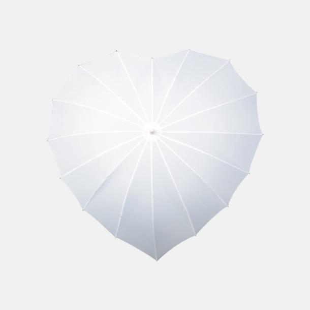 Vit Hjärtformade paraplyer med eget tryck