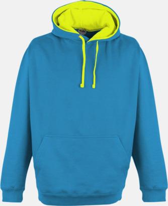 Sapphire Blue/Electric Yellow Huvtröjor med kontrastfärger - med tryck