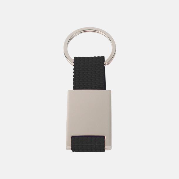 Svart / Silver Metallnyckelringar med färgade polyesterband med gravyr