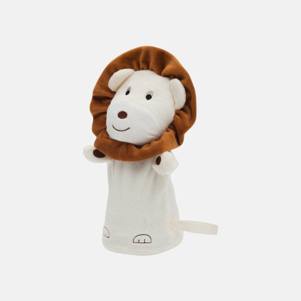 Lejon Gosedjurs handdockor med egen logga
