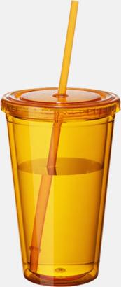 Orange (transparent) Plastmuggar med lock och sugrör - med tryck