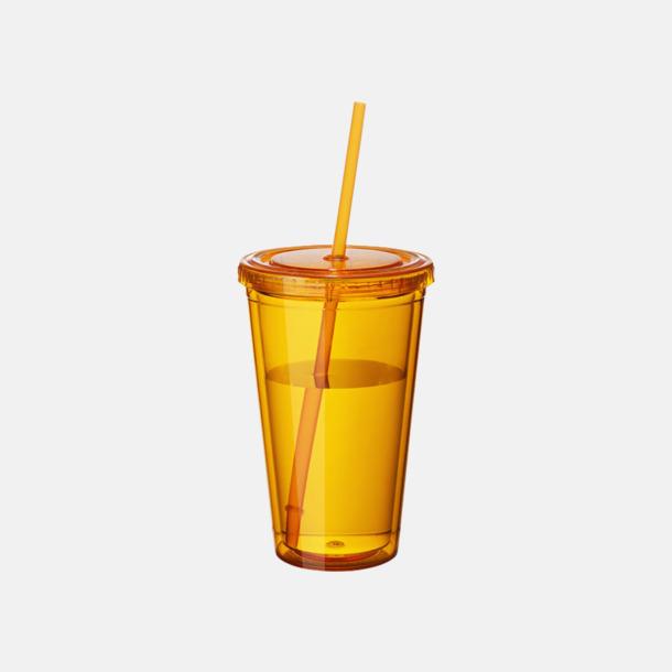 Orange (transparent) Plastmuggar med lock och sugrör - med reklamtryck