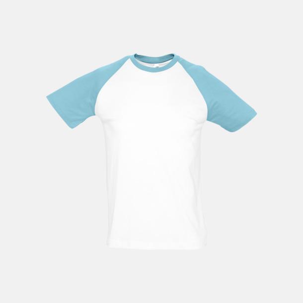 Vit/Atoll (herr) T-shirts i herr- och dammodell med kontrasterande färg - med reklamtryck