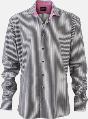 Grafit-Vit/Mörklila (herr) Blusar & skjortor i randigt mönster med reklamtryck