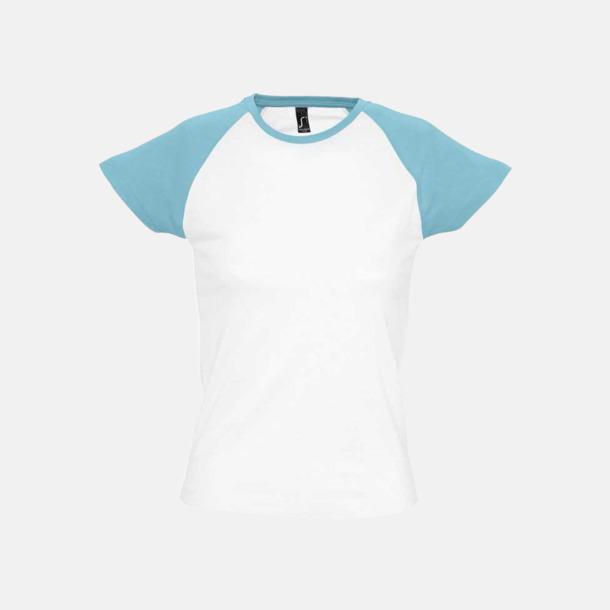 Vit/Atoll (dam) T-shirts i herr- och dammodell med kontrasterande färg - med reklamtryck