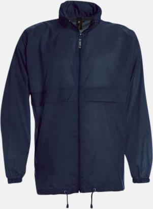 Marinblå (unisex) Vind- och vattentäta jackor för dam, herr och barn - med tryck