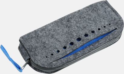 Grå/Blå Necessärer i filt med reklamtryck