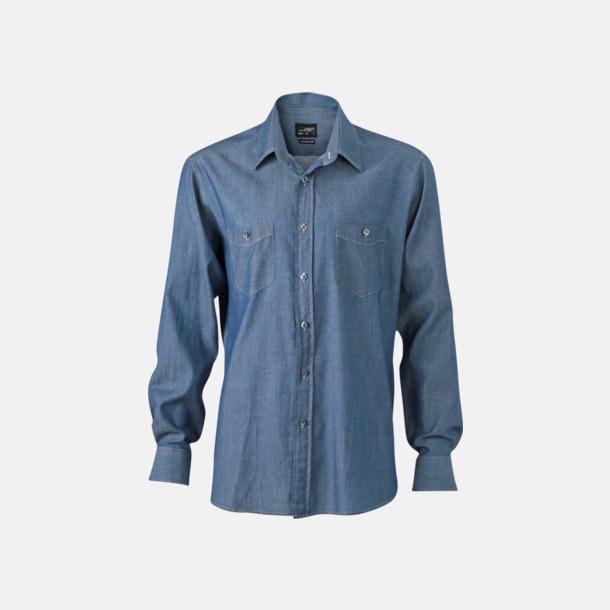Light Denim (herr) Easy Care premium jeansskjortor med reklamtryck