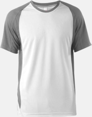 Vit/Fine Grey (solid) Tvåfärgade funktionströjor för män - med reklamtryck