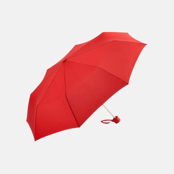 Röd Kompaktparaplyer i aluminium med tryck