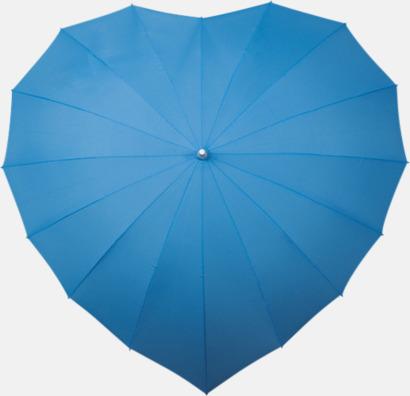 Blå Hjärtformade paraplyer med eget tryck