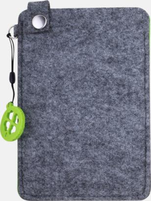 Grå/Limegrön (stor 2) Mobilfodral i filt med reklamtryck