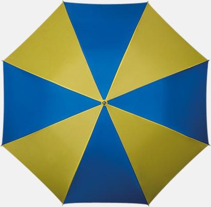 Blå / Gul Golfparaply med rundad träkrycka