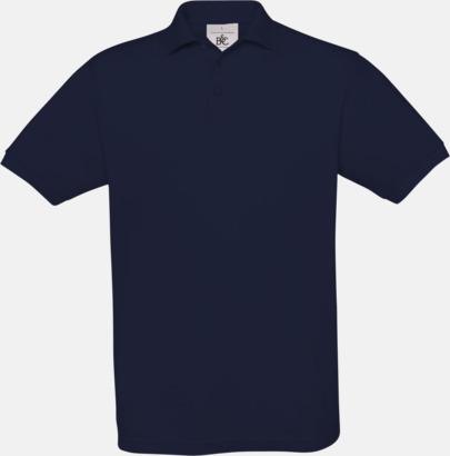 Marinblå Kortärmade pikétröjor med egen brodyr
